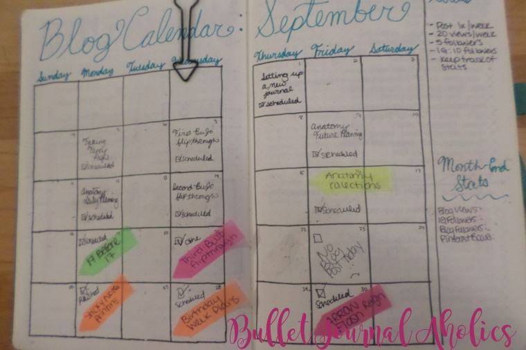 Scheduling and tracking blog posts, goals and etc. in my Bullet Journal.
